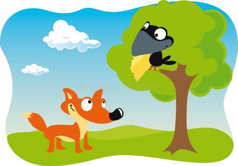 Fox e o corvo com queijo ilustração do vetor
