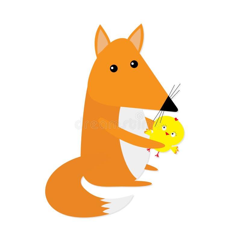 Fox e personagem de banda desenhada bonito dos amigos da galinha Coleção do animal da floresta Fundo branco Isolado Projeto liso ilustração royalty free
