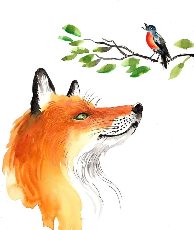 Fox ed uccello di canto royalty illustrazione gratis