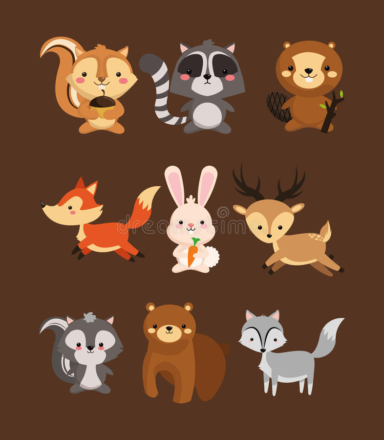 fox el ima de los iconos de la mofeta y del oso del castor del mapache de la ardilla de los ciervos del conejo ilustración del vector