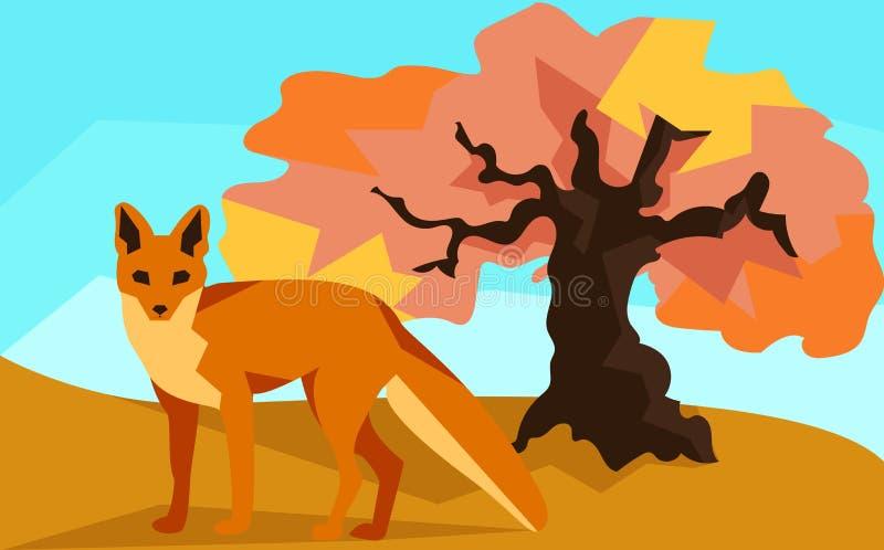 Fox en la colina con el roble, los animales y la naturaleza libre illustration