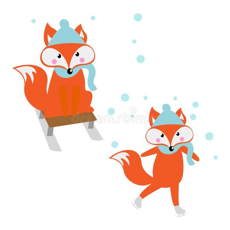 Fox en patines y logotipo del trineo stock de ilustración