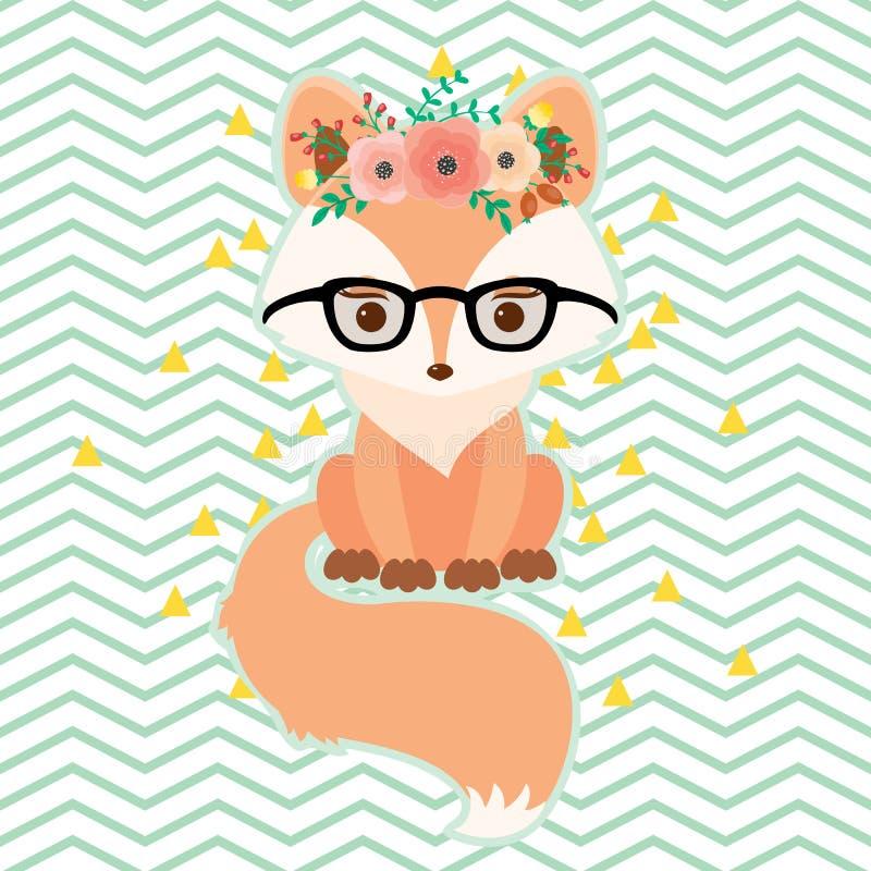 Fox en vidrios en guirnalda floral stock de ilustración