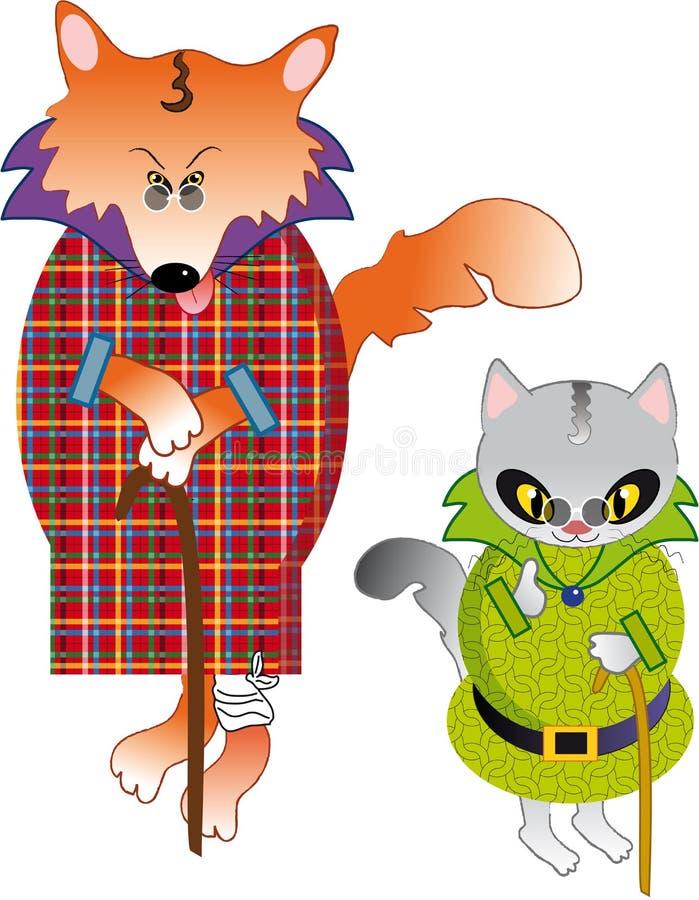Fox et chat illustration libre de droits