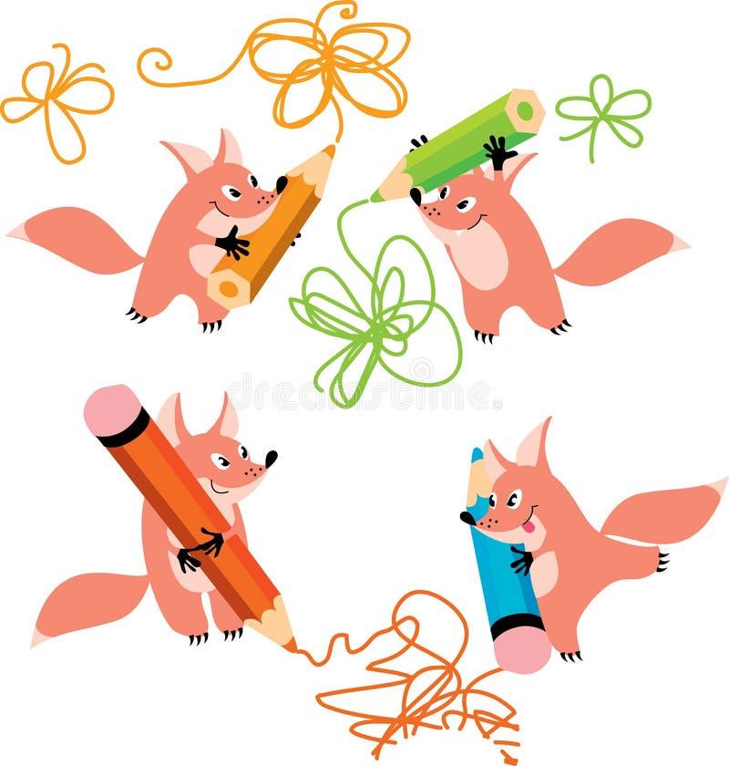 Fox et crayons illustration de vecteur