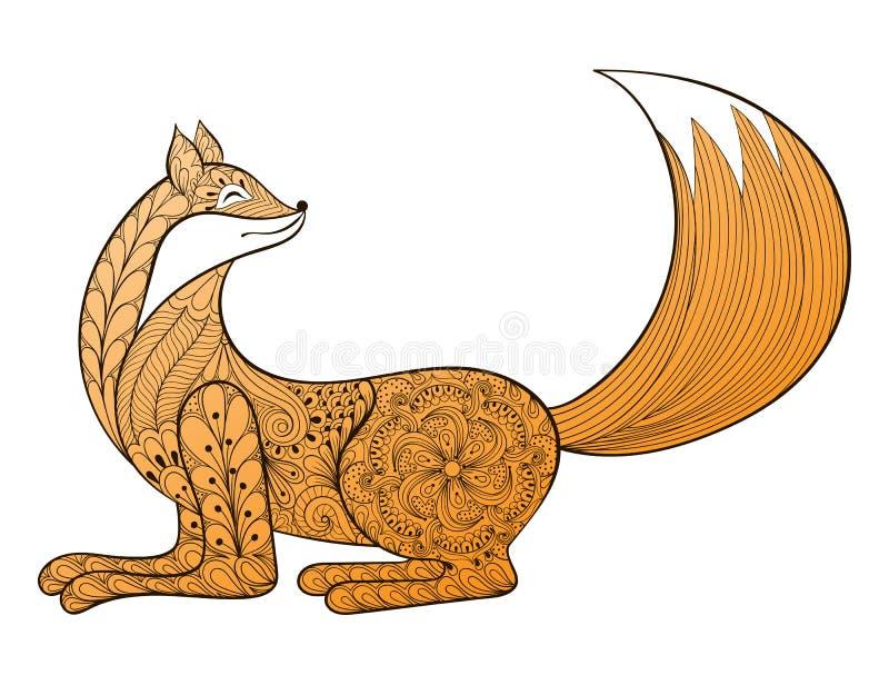 Fox feliz del vector Animal artístico dibujado mano de Zentangle para el adulto libre illustration