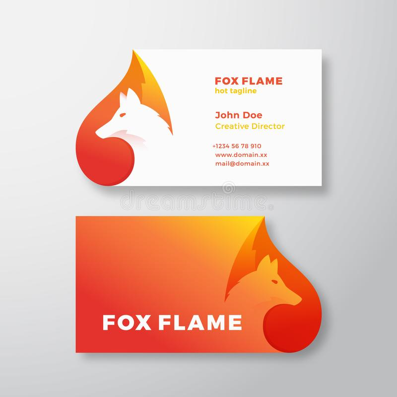 Fox Flame Abstract Vector Logo and Business Card Template. Negative Space Animal Face Modern Simple Design Concept stock illustration