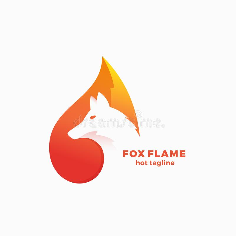 Fox Flame Abstract Vector Symbol, Sign or Logo Template. Negative Space Animal Face Modern Simple Design Concept. royalty free illustration