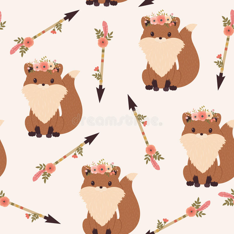 Fox in a floral wreath seamless wallpaper stock illustration
