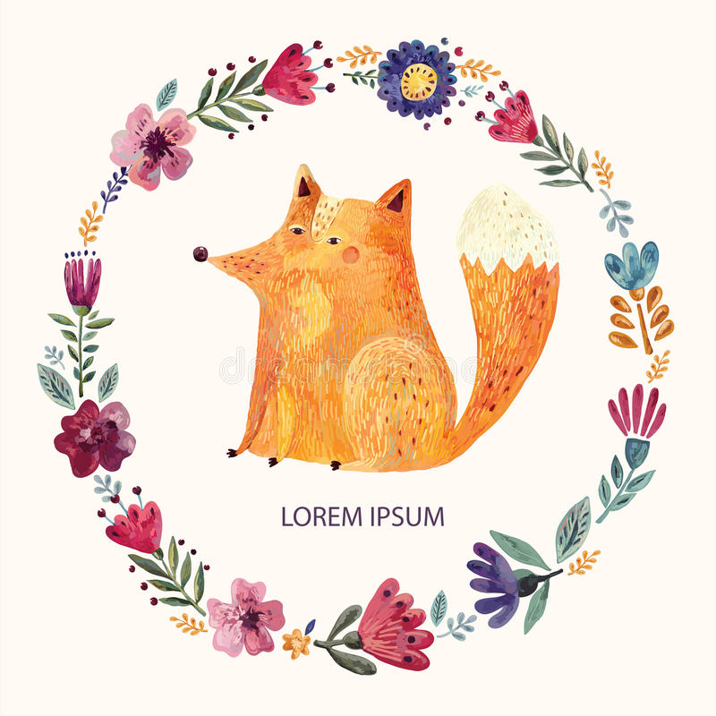 Fox and floral wreath royalty free illustration
