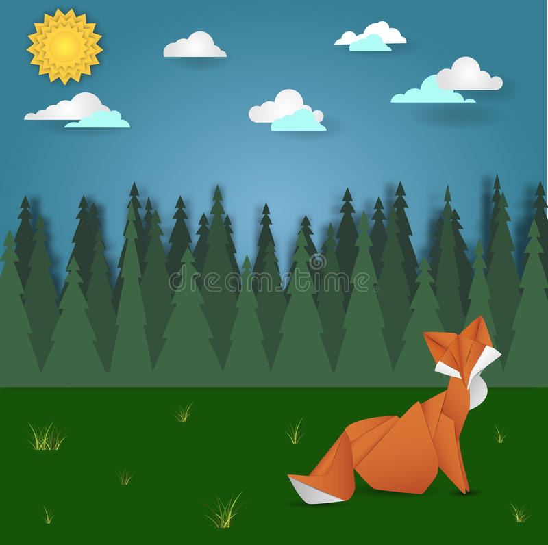 Fox on forest meadow landscape. Origami animal object vector illustration stock illustration