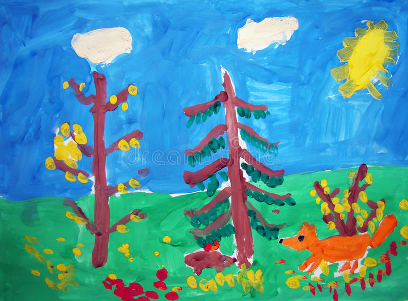 Fox in a forest - painted by child stock illustration