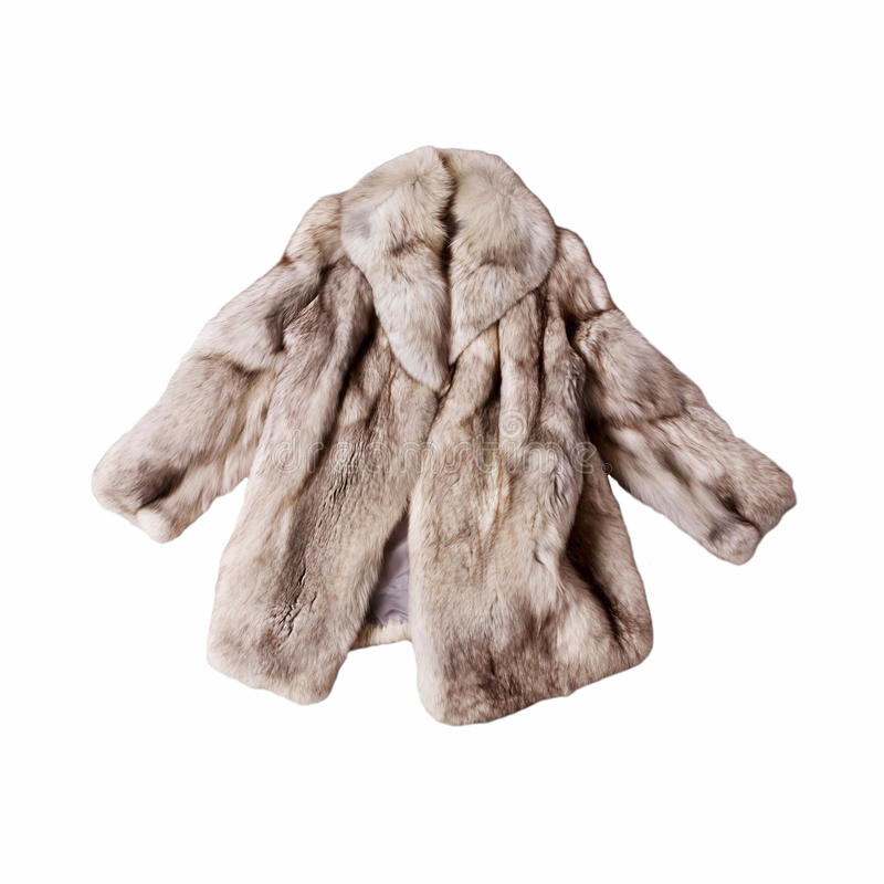 Fox fur coat. Real fox fur coat isolated on white background stock images