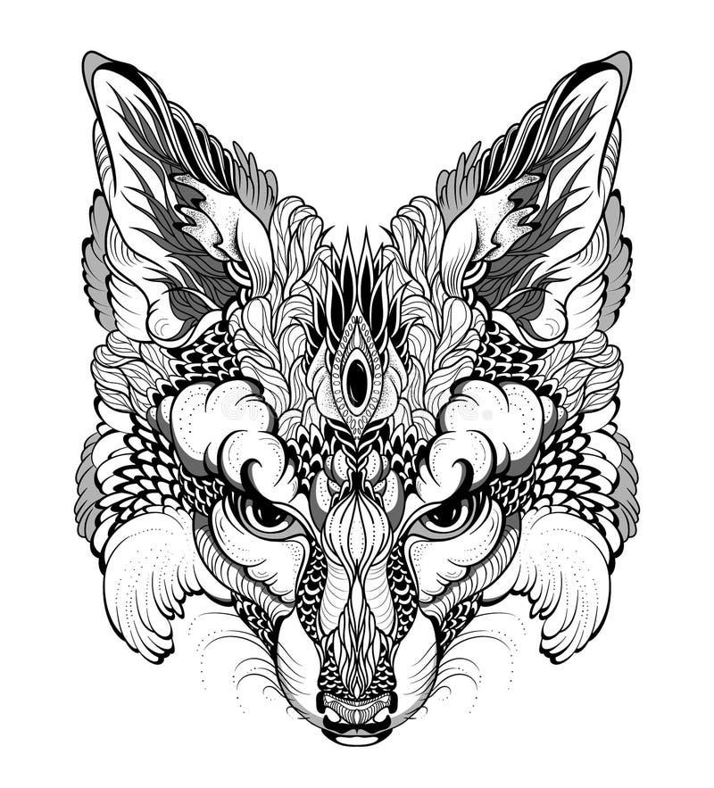 FOX głowy tatuaż psychodeliczny, zentangle styl/ royalty ilustracja