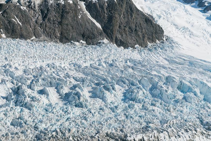 Fox Glacier close up winter season New Zealand. Natural landscape royalty free stock photography