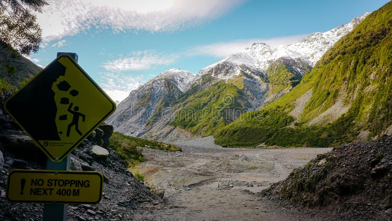Fox glacier danger sign royalty free stock images