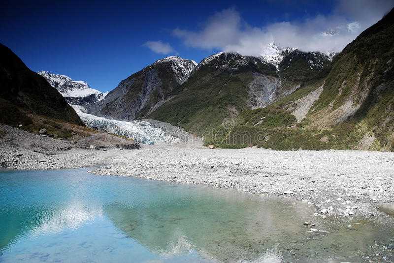 Fox Glacier in New Zealand. Amazing Fox Glacier in New Zealand, South Island stock images