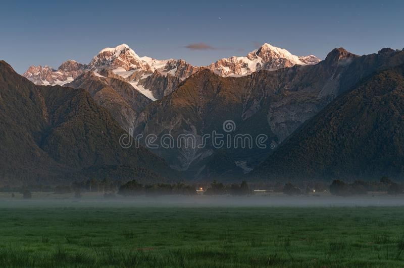 Fox glacier New Zealand scenic mountain landscape royalty free stock images