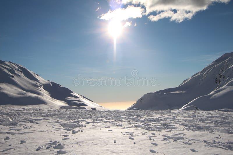 Fox Glacier Peak Clear Skies. Peak of Fox Glacier in New Zealand with clear blue skies stock images