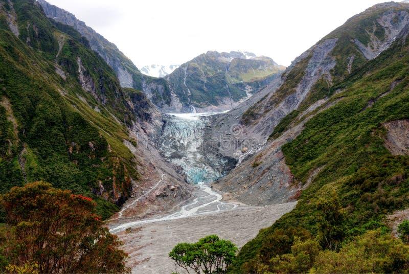 Fox-Gletscher-Neuseeland-Chalet-Ausblick lizenzfreie stockbilder