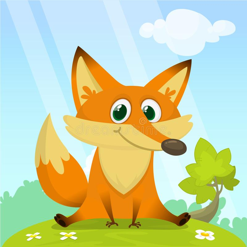 Fox in the grass - a children`s cartoon illustration - stylized vector image. For print, create videos or web graphic design royalty free illustration