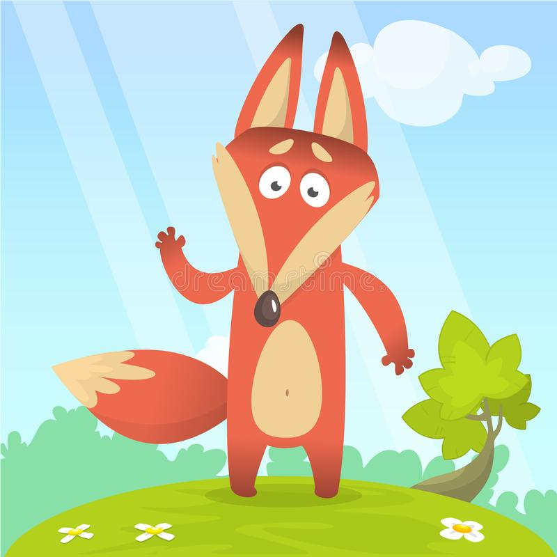 Fox in the grass - a children`s cartoon illustration - stylized vector image. For print, create videos or web graphic design, user interface, card, poster stock illustration