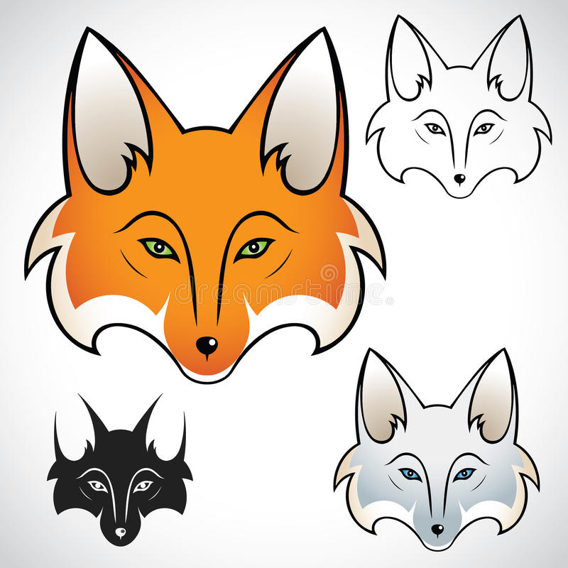 Download Fox head stock vector. Image of silhouette, head, face - 26576903