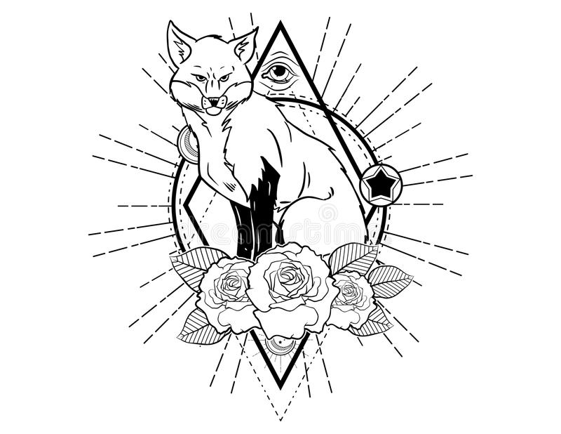 Fox head tattoo sketch with roses vintage neo traditional tattoo sketch. Hand drawn retro animal tattoo sketch with roses in vintage style. ornate romantic royalty free illustration