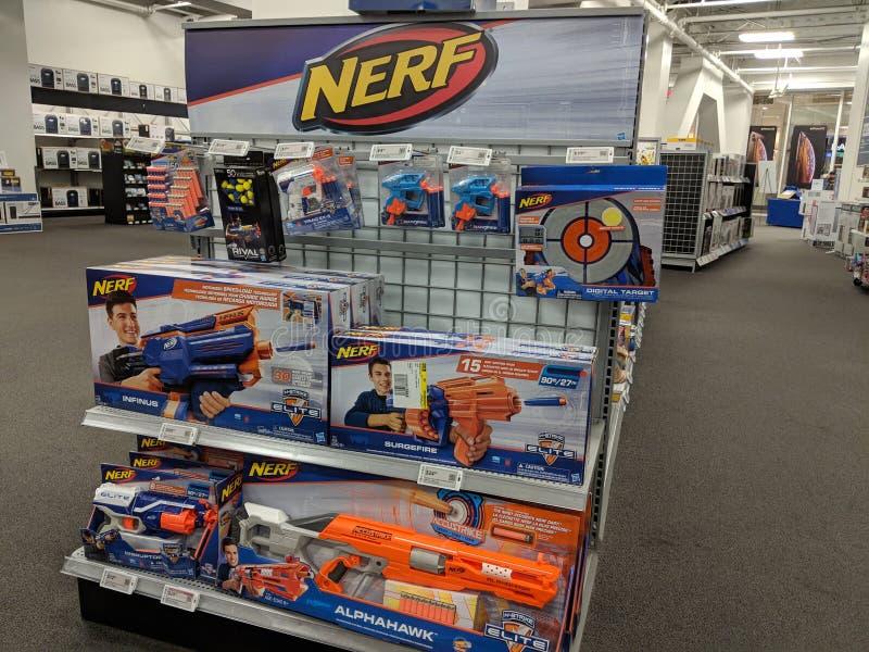 Nerf Toys Display Display at Best Buy royalty free stock image