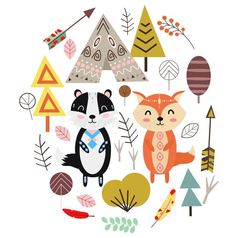 Fox i borsuk w Skandynawskiego stylu wektorowej ilustracji, eps ilustracji