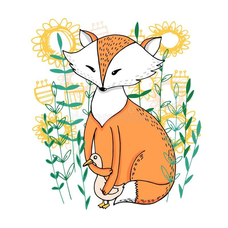 Fox i kaczka w kwiatach royalty ilustracja
