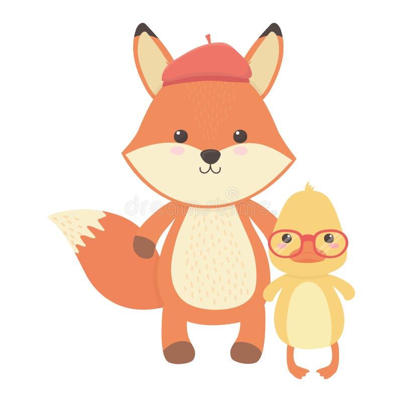 Fox i kaczki kreskówki projekt ilustracji