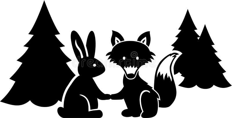 Fox i królik mówimy dobranoc w drewnie ilustracja wektor