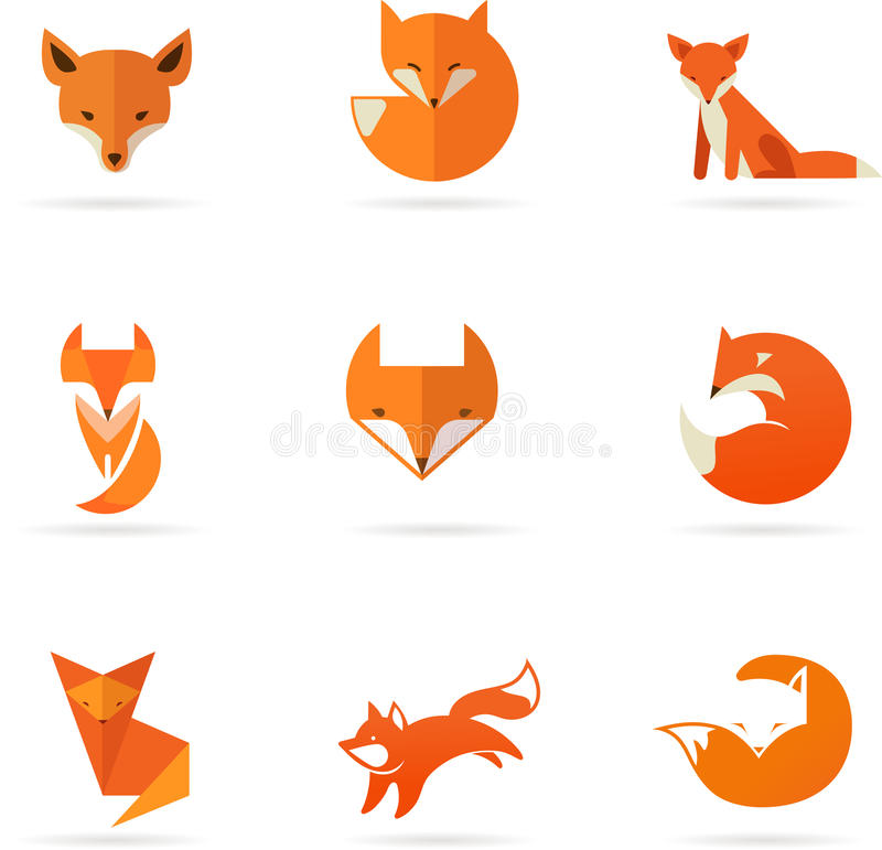Fox icons, illustrations and elements royalty free illustration