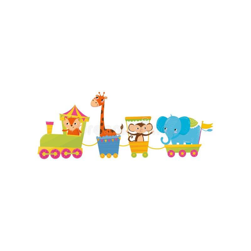 Fox, jirafa, mono y elefante viajando en tren Caracteres del animal de la historieta Tema del parque zoológico Diseño plano color ilustración del vector
