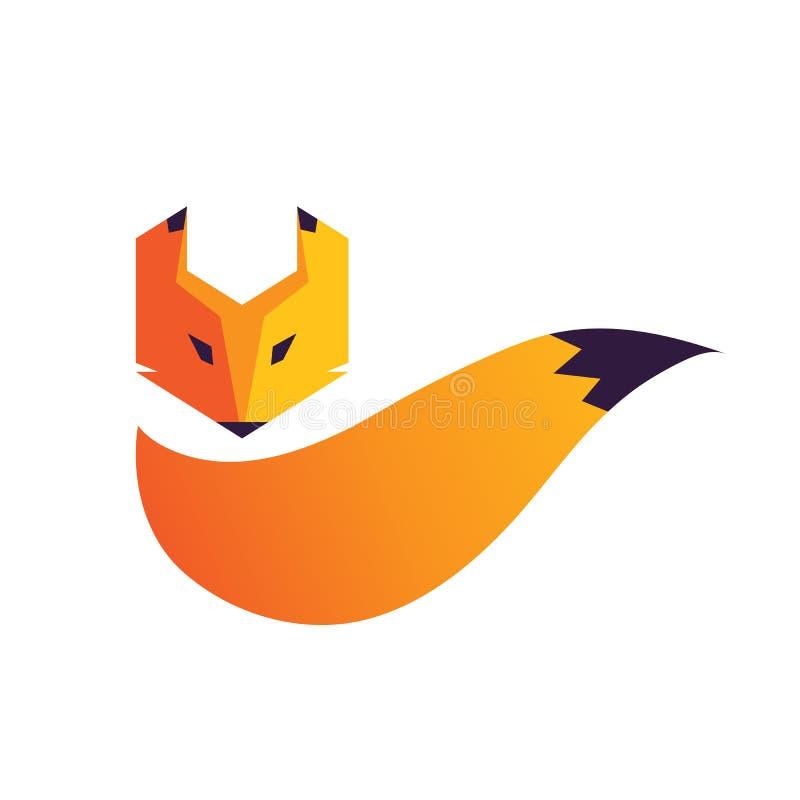 Fox kierowniczy i ogonu logo ilustracja wektor
