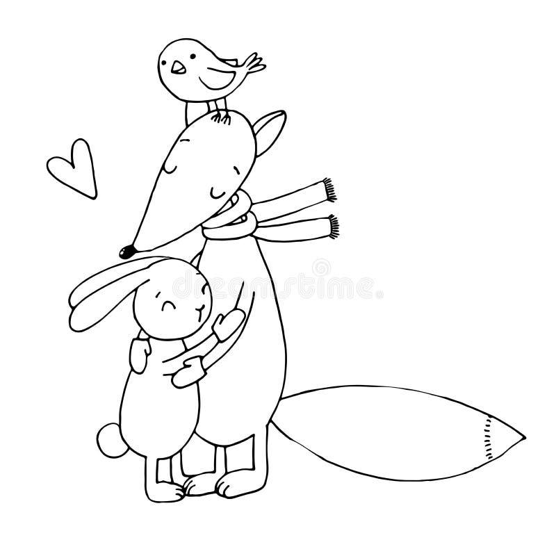 Fox, lapin, oiseau et arbre L'hiver illustration stock