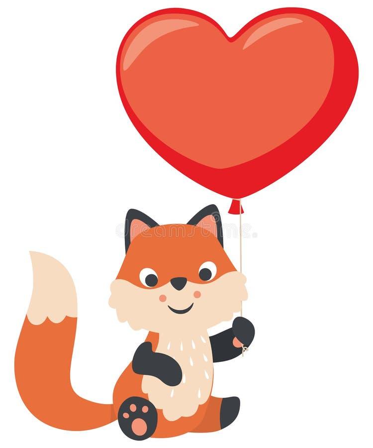 Fox lindo del bebé que celebra el ejemplo plano en forma de corazón del vector del día de tarjetas del día de San Valentín del gl stock de ilustración