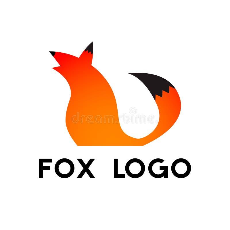 Fox loga szablon Pomarańczowy lisa symbol z ogonem również zwrócić corel ilustracji wektora ilustracja wektor