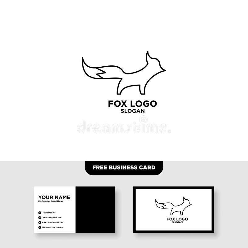 Fox outline line art monoline logo vector icon - Vector, Free Business Card Mockup royalty free illustration