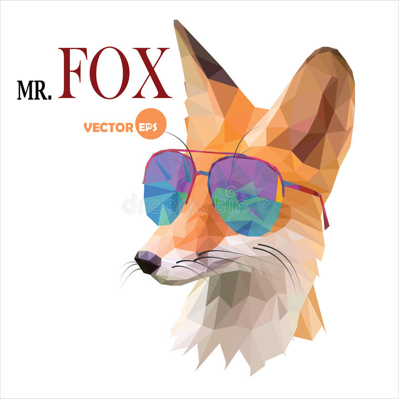Fox mężczyzna, Mr Fox w okularach przeciwsłonecznych, miastowy miasto styl, modnisia spojrzenia mody portreta zwierzęcy zakończen ilustracji