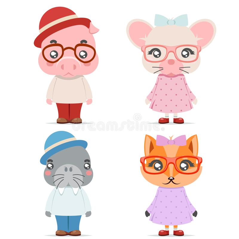 Fox mice pig walrus cute animal boy girl cubs mascot cartoon icons set flat design vector illustration. Fox mice pig walrus cute animal boy cubs girl mascot vector illustration