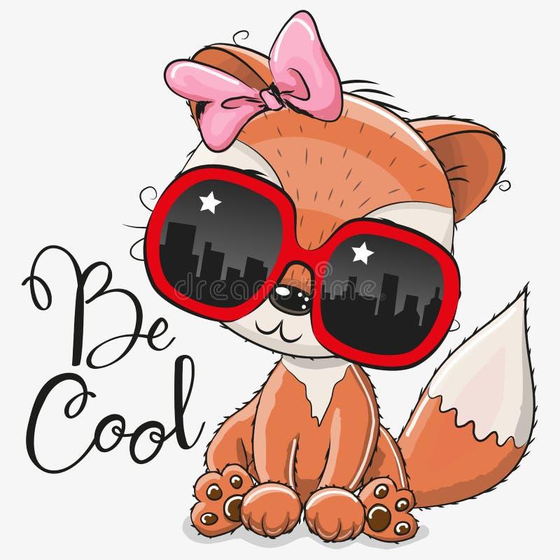 Fox mignon avec des verres de soleil illustration libre de droits