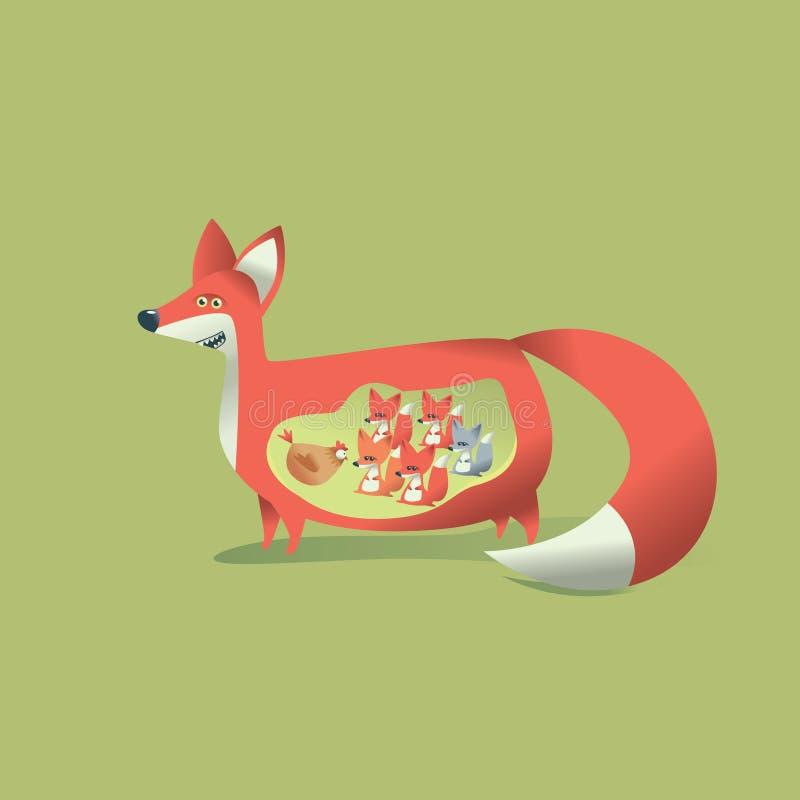 Download Fox Mom stock illustration. Illustration of chicken, small - 24311219