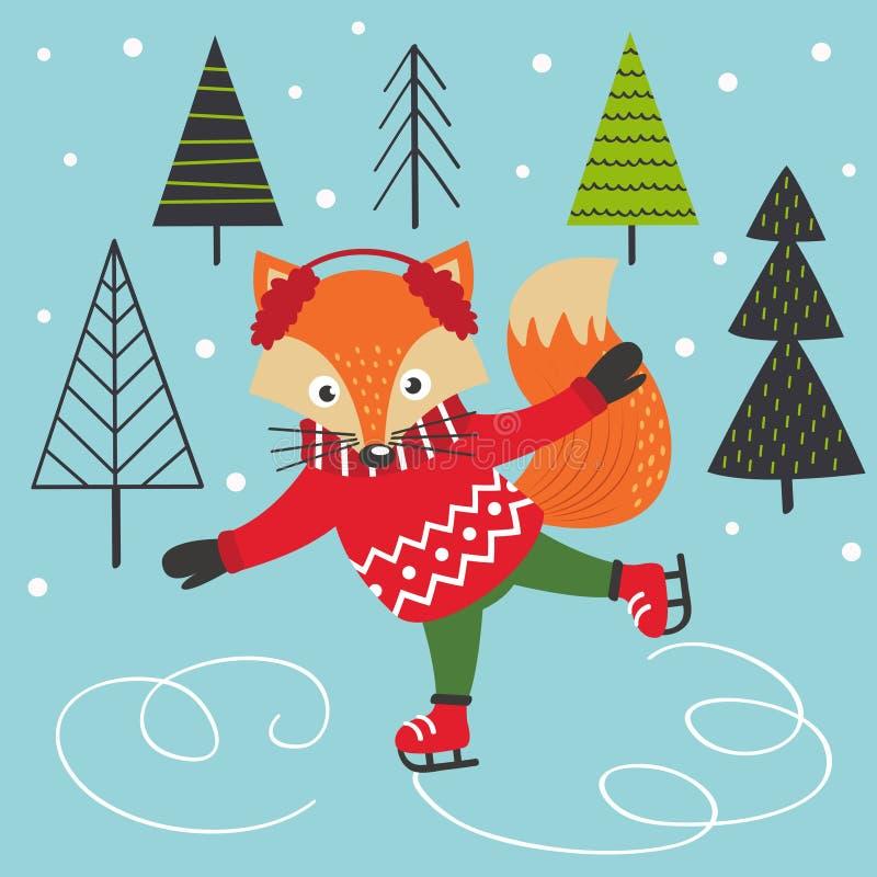 Fox na lodowych łyżwach ilustracji
