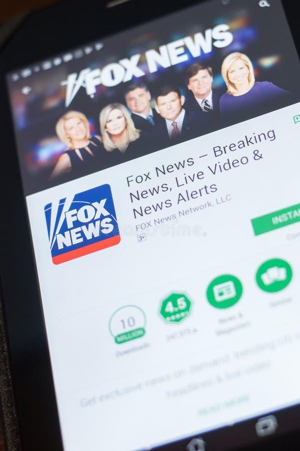 Fox News wisząca ozdoba app na pokazie pastylka pecet Ryazan Rosja, Kwiecień - 19, 2018 - zdjęcia stock