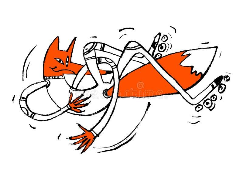 Fox nos rolos Os gráficos manuais da cor, aperfeiçoam para o registro dos eventos desportivos, os eventos das crianças ilustração do vetor