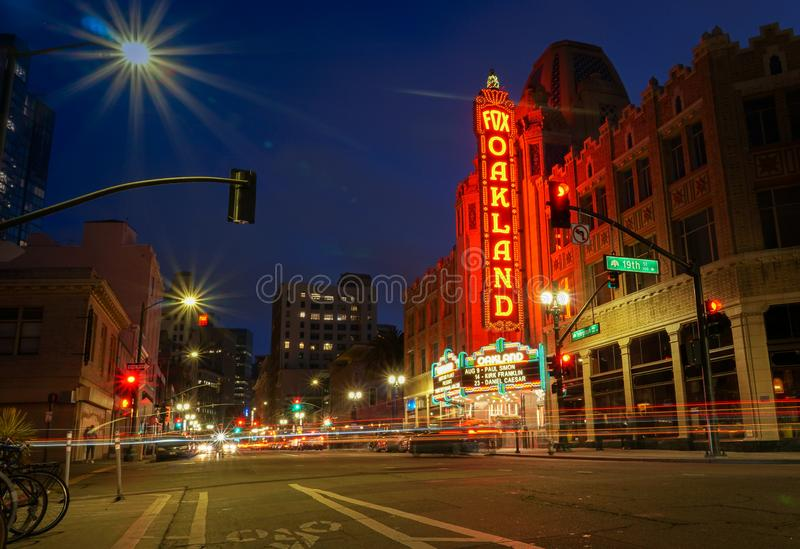 The Fox Oakland Theatre, part of the lively cultural scene in Downtown Oakland. OAKLAND, CALIFORNIA -- AUGUST 9, 2019: Fox Oakland Theatre, a concert hall and royalty free stock photo