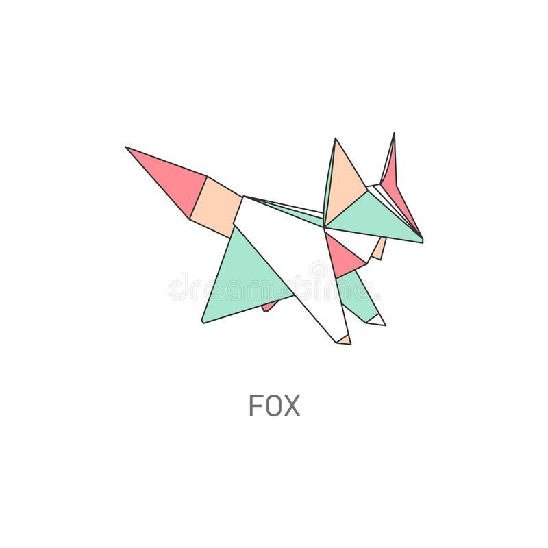 Fox origami figure in geometric flat outline style vector illustration