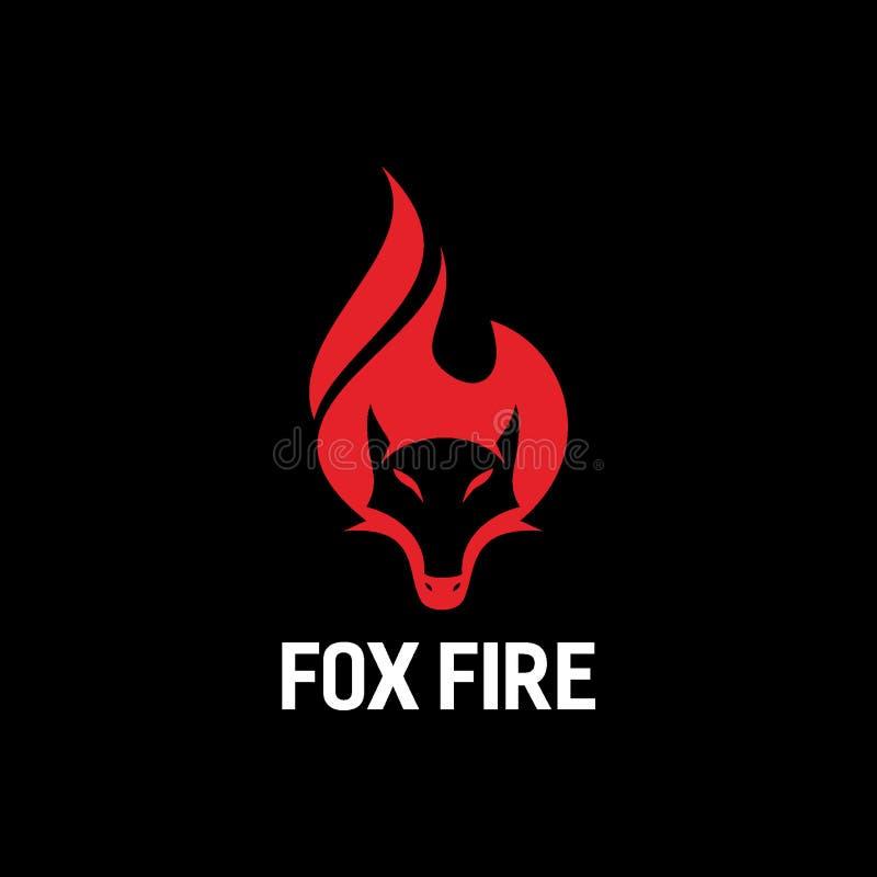 Fox płomienia lub ogienia loga projekta pojęcie ilustracji